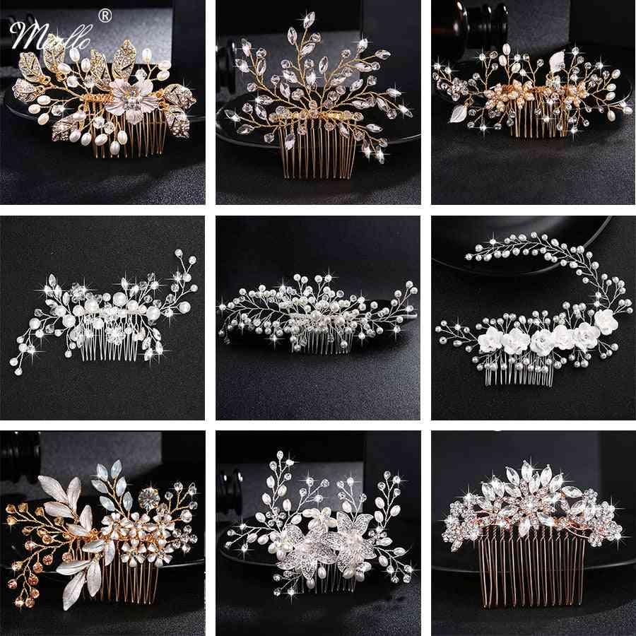 Wedding Crystal Peals Bridal Hair Clips, Accessories