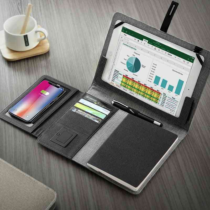 Business Travel Bag, Padfolio Notebook With Power Bank, Battery Charger Wire And Wireless Charging