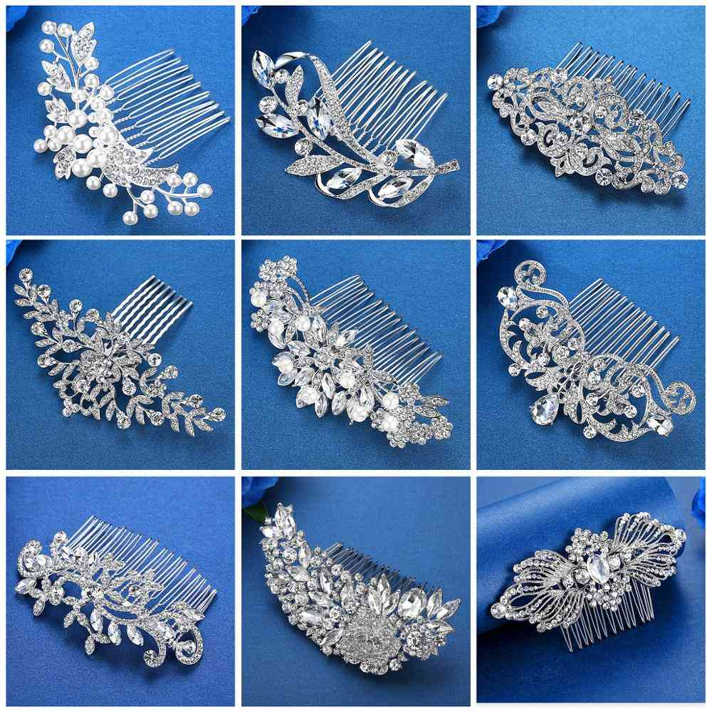 Flower Leaf, Bridal Hair Comb For Crystal, Hair Ornaments, Jewelry, Wedding, Hair Accessories