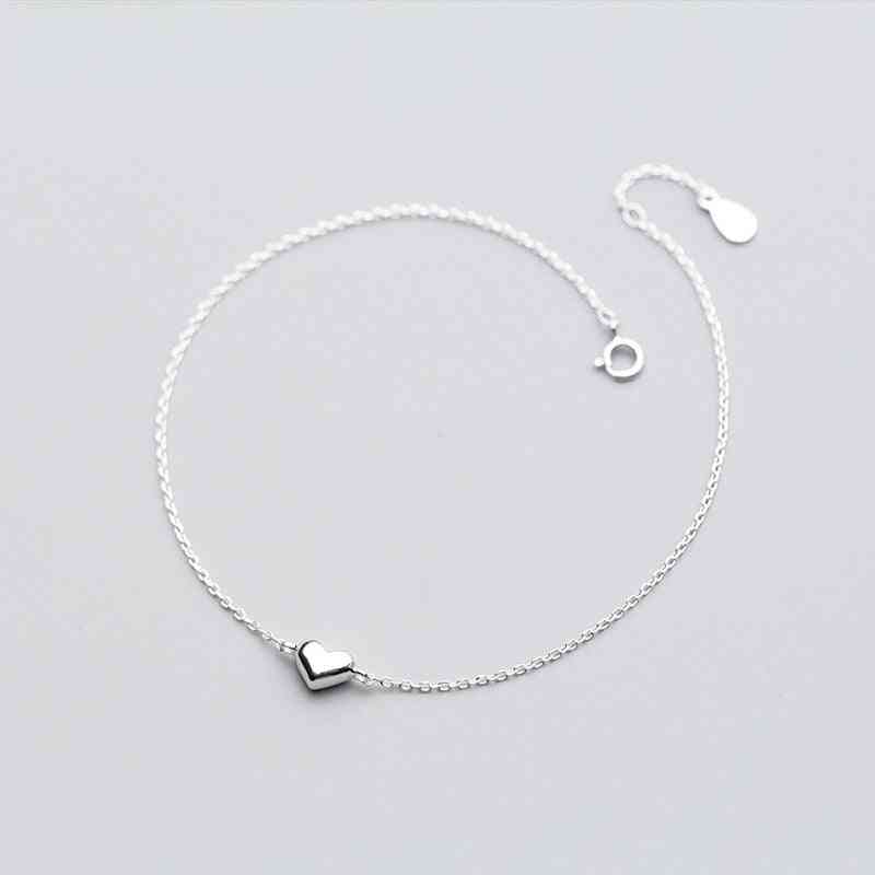 Sterling Silver Romantic Small Heart Charm Anklets