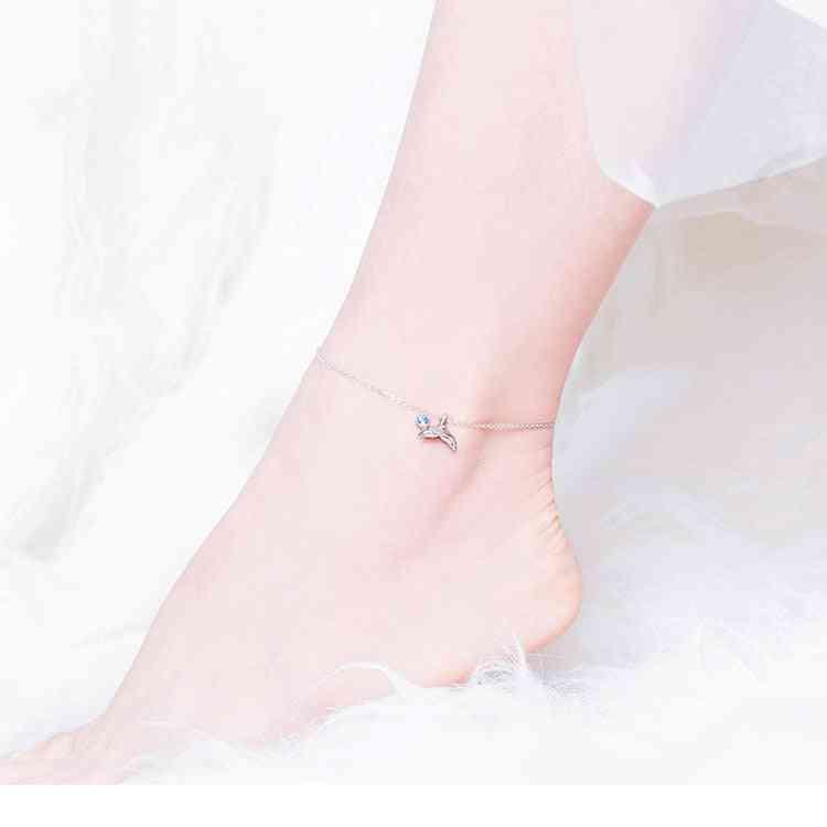 925 Sterling Silver Fish Tail Foot Anklets Bracelets