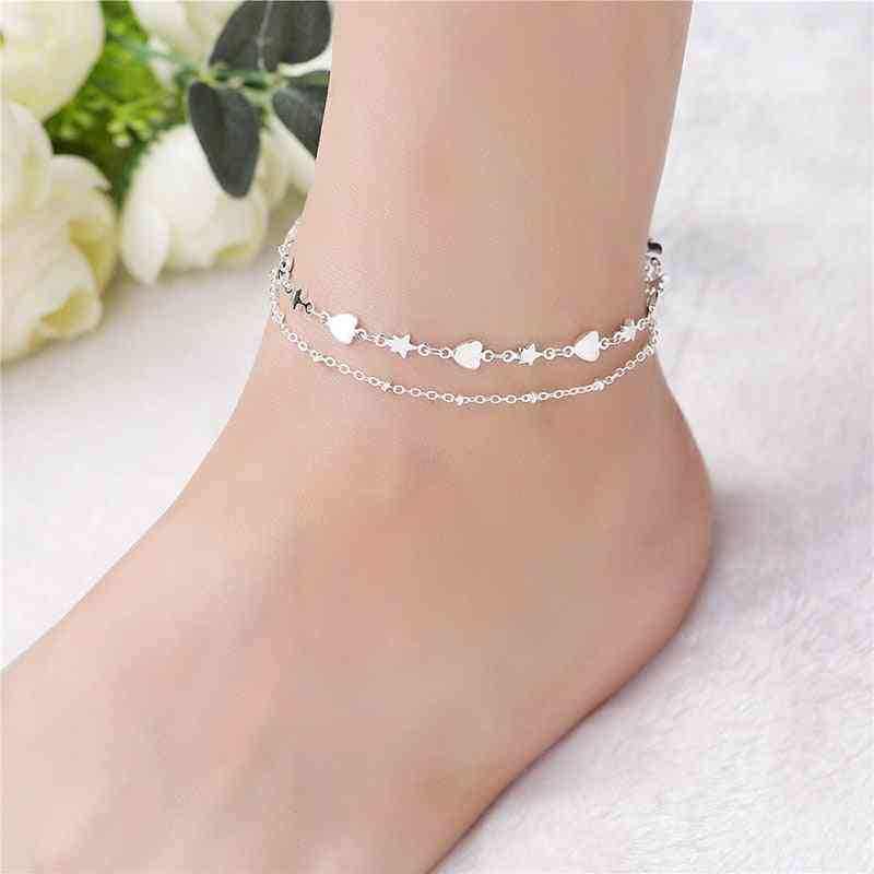 Fashion 925 Sterling Silver Anklet Fine Jewelry Heart Foot Chain