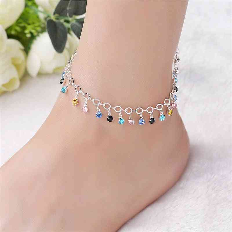 925 Sterling Silver Colorful Crystal Rhinestone Drop Anklet