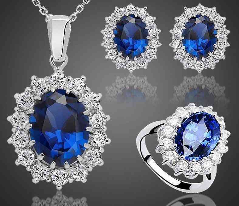 Sapphire Stone Wedding Jewelry Sets For Brides