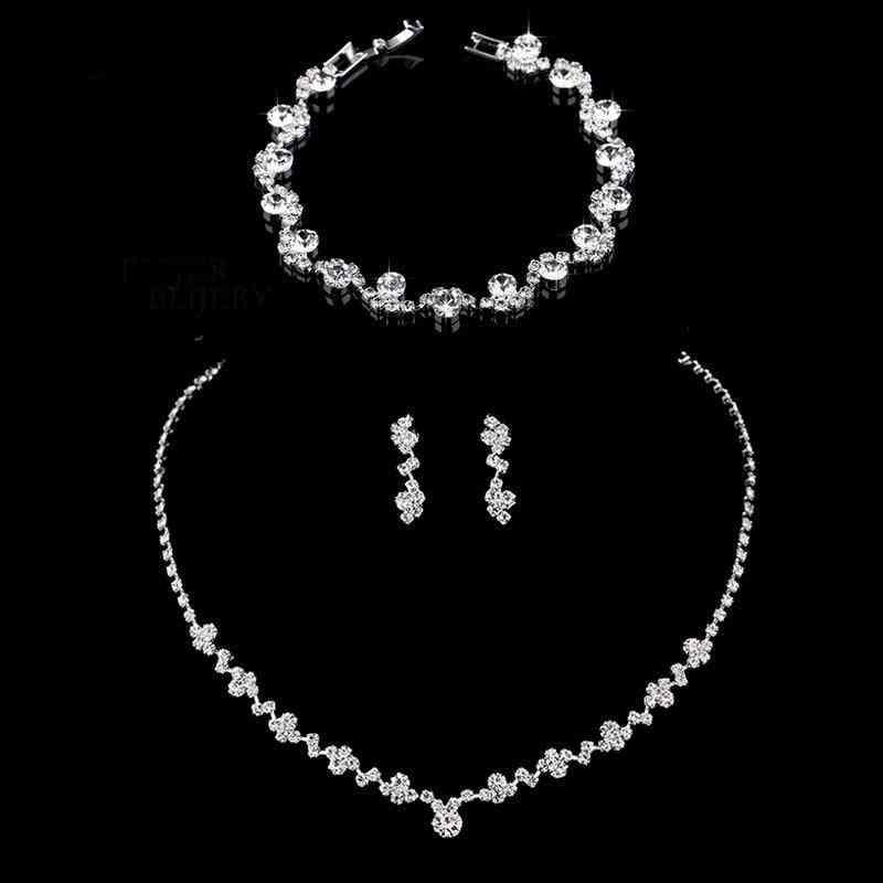 Fashion Crystal Bridal Necklace, Earrings & Bracelet Jewelry Sets