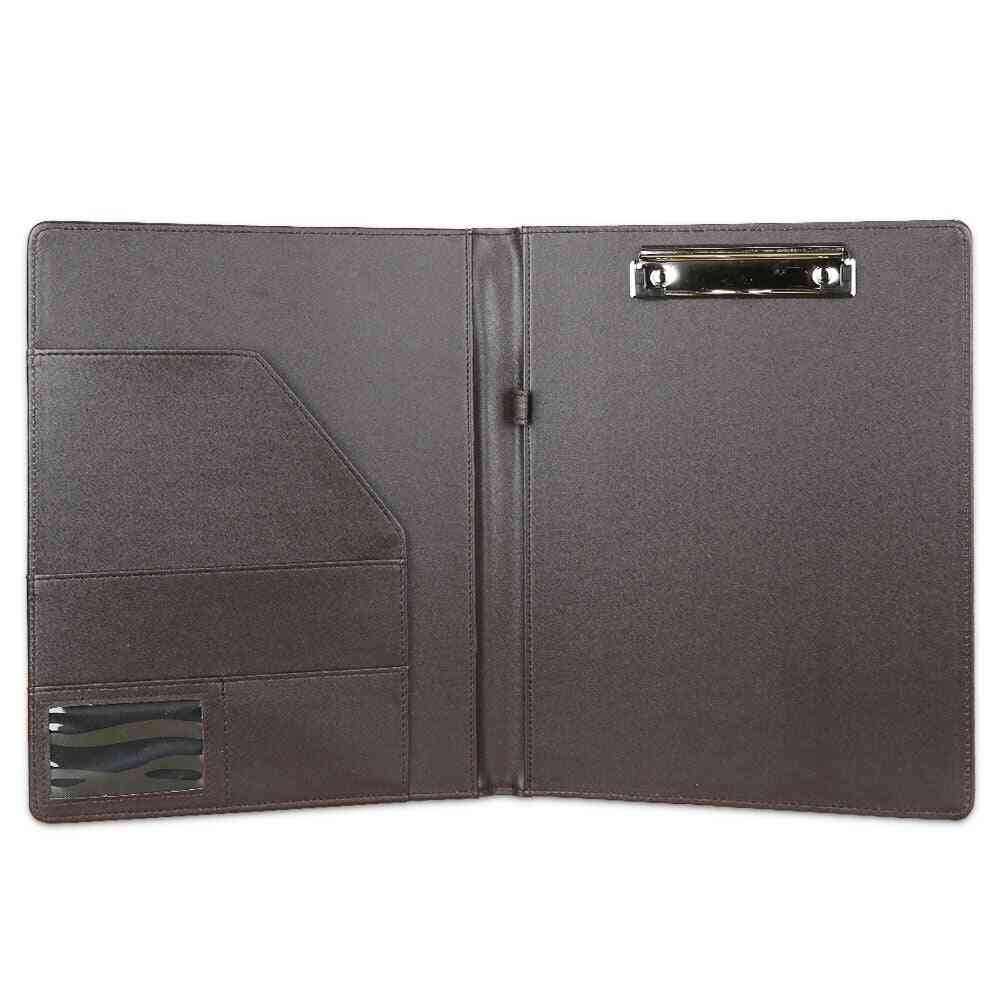 A4 Pu Leather File Folder Paper Clip, Padfolio For Office School Desk Organizer