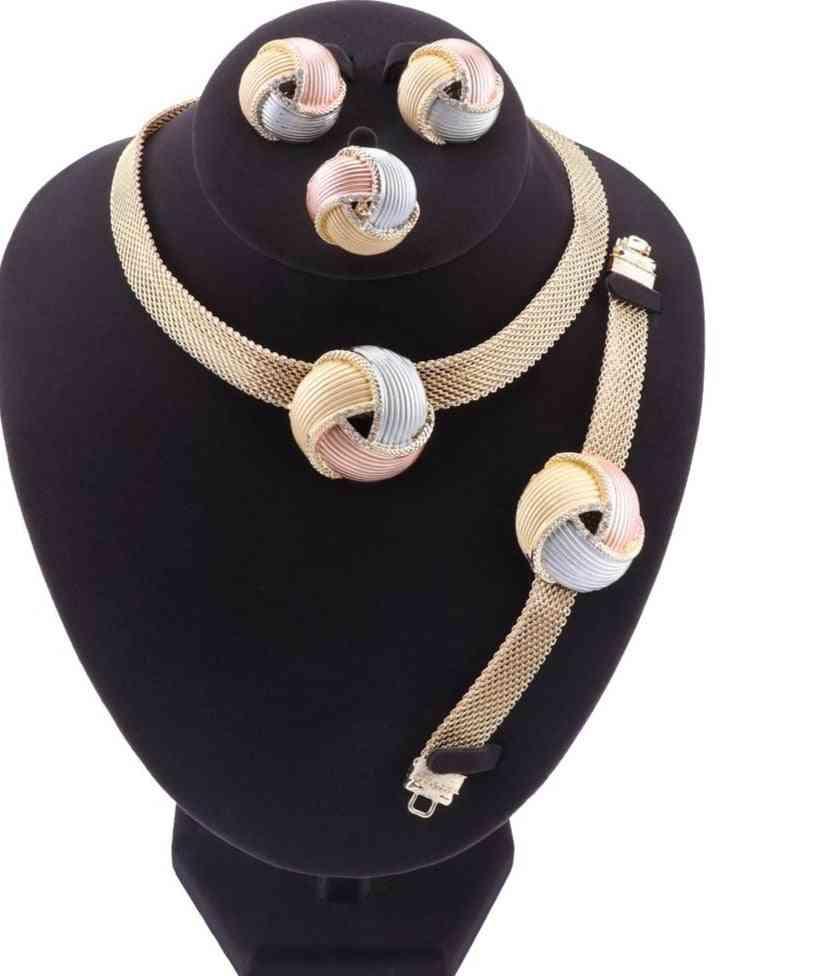 Women Crystal Necklace, Bracelet & Ring Jewelry Sets