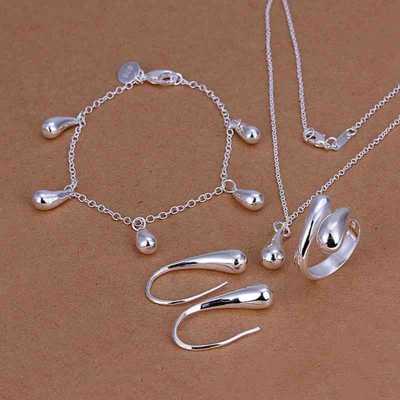 Silver Color Fashion Necklace, Bracelet Jewelry Set