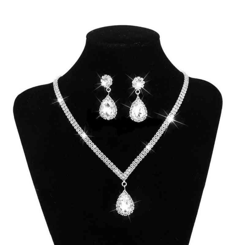 Rhinestone Long Pendant-full Crystal Silver Plated Necklace, Earrings, Elegant Bridal Wedding Jewelry Set
