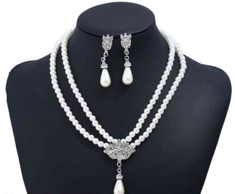 Bride Pearl Crystal With Short Collarbone Neck Necklace Set