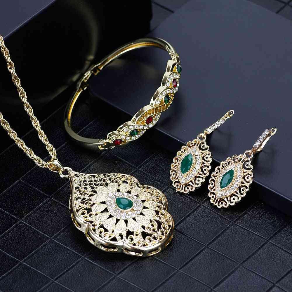 Arabic Necklace, Earring, Cuff Bracelet Women Ethnic Wedding Jewelry Set