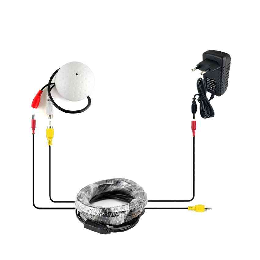 Cctv Microphone Security, Camera Audio, Mic Wide Range Microphone + Cab +power Adapter