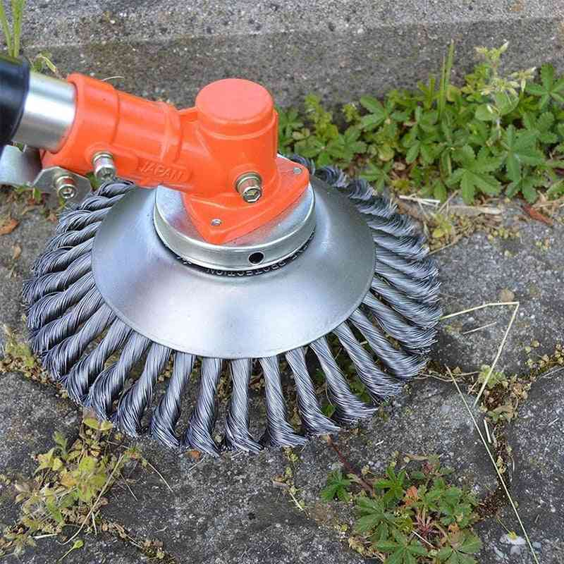 Steel Wire Grass Trimmer, Head Rounded Edge, Weed Brush Removal Tray Plate For Lawnmower