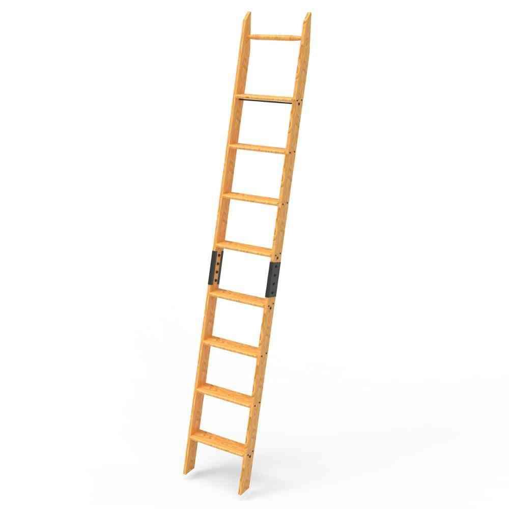Solid Wood Oak Library Ladder, Unassembled Easy Installed