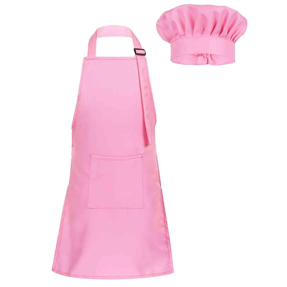 Child Kids Adjustable Apron And Chef Hat Set Kitchen Cooking Uniform Baking Painting Training Wear