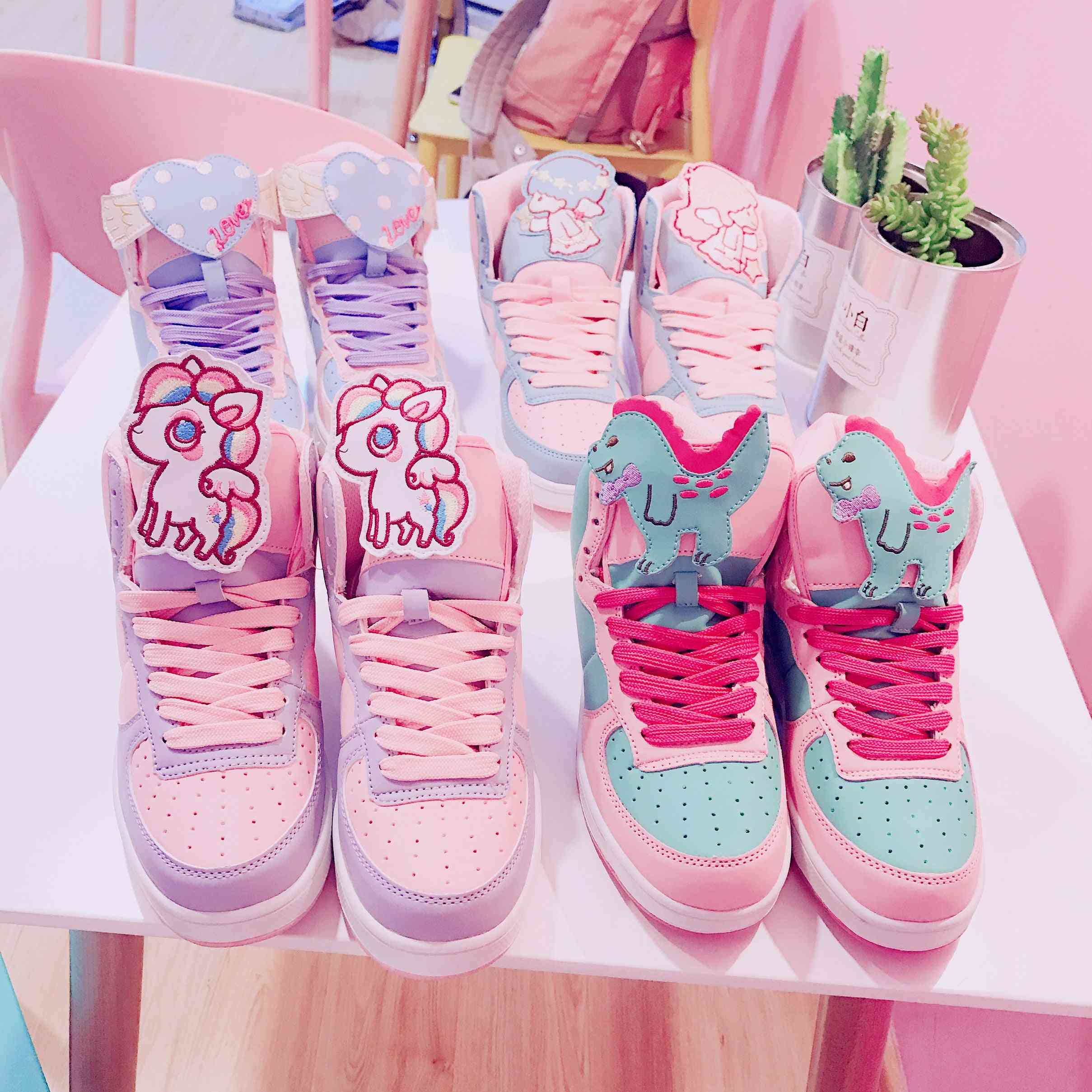 Round Head Flat Heel High Help Color Matching Women Anime Cosplay Sweet Shoes