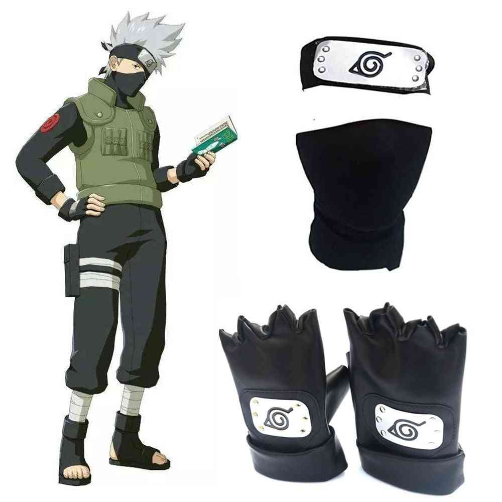 Anime Naruto Headband Face Mask Gloves Weapon Pack Cosplay Prop