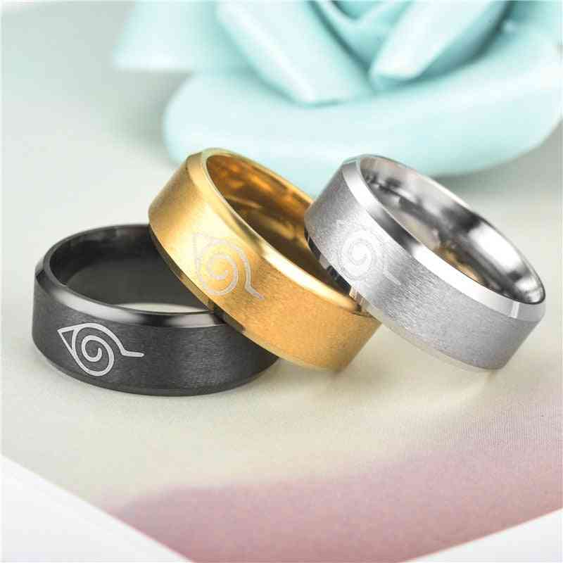 Naruto Ring Leaf Symbol, Black Fashion Titanium Steel Anime Jewelry Cosplay