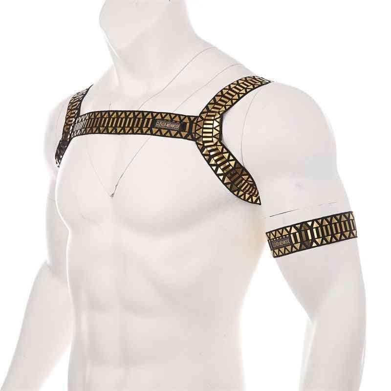 Men Body High Elastic Chest Strap Bondage Costume
