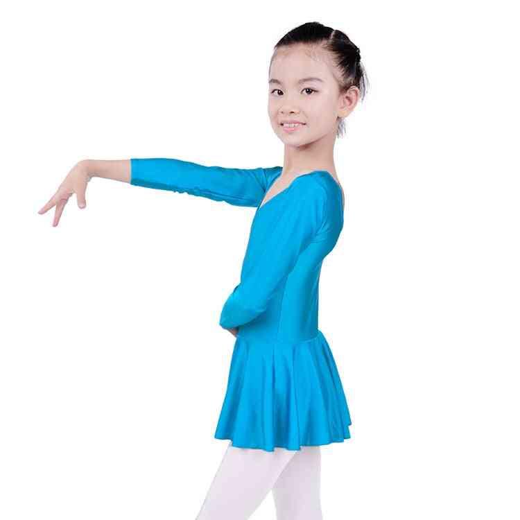 Long Sleeved Spandex Gymnastics Leotard Swimsuit Ballet Dancing Dress Grils