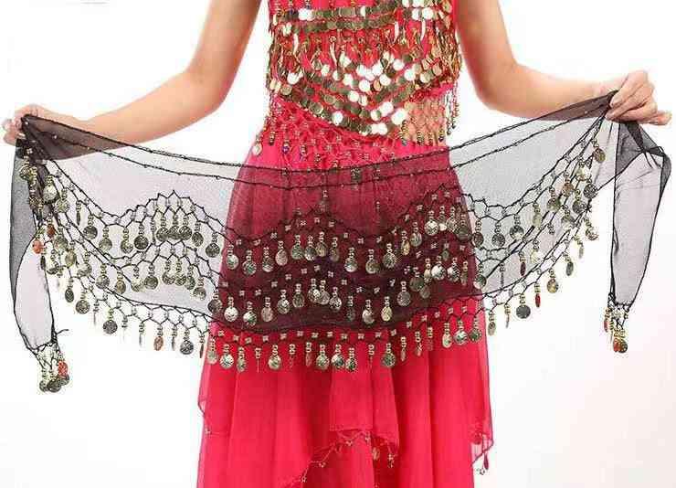 Belly Dancetone Coins Waist Chain Wrap Women Dance Wear Hip Scarf Accessories