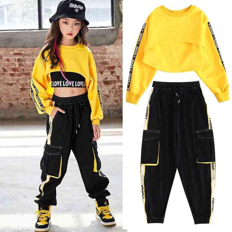 Children Hip-hop Clothes, Street Dance Sweatshirt/pants Set, Ballroom Stage Clothing