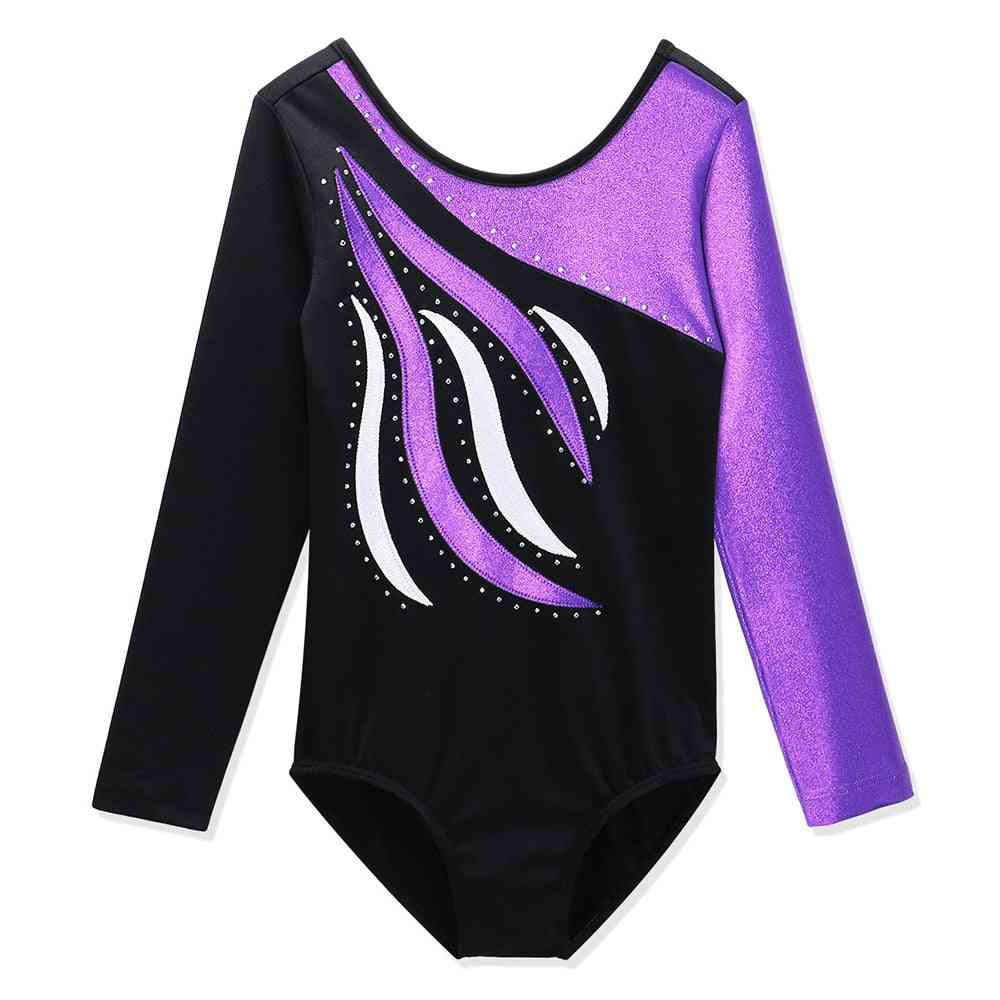 Girls Ballet Leotard Toddler Striped Long Sleeves/gymnastics Train Costumes