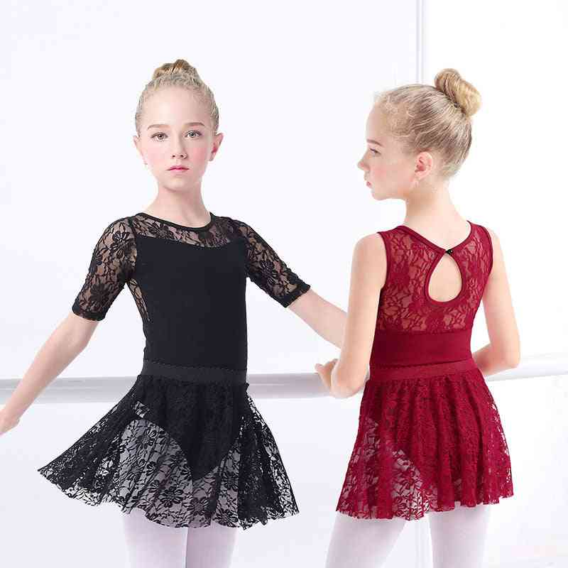 Girls Ballet-dress Gymnastic Skirted Long/sleeve, Kids Gymnastic Swimsuit For Dancing