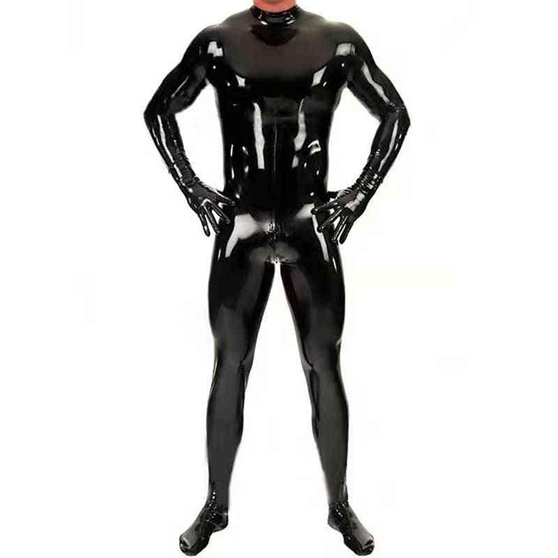 Shiny Bodysuit Men Full Body Cover Pu Latex Waterproof U Convex Pouch Jumpsuit