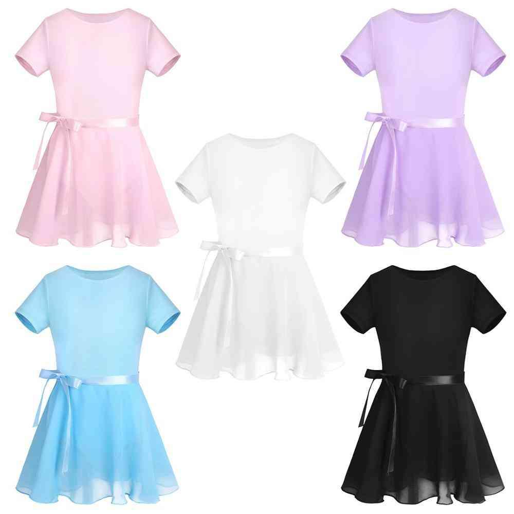 Kids Cotton Sleeve Ballet Dress, Chiffon Ballet Skirt Girl Gymnastics Leotard Set