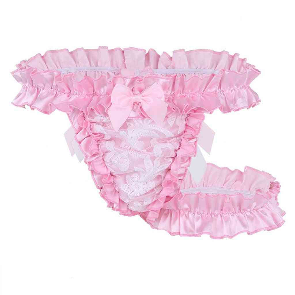 Men's Ruffle Frilly Satin Lace Sissy Maid Briefs Underwear Bowknot Thong