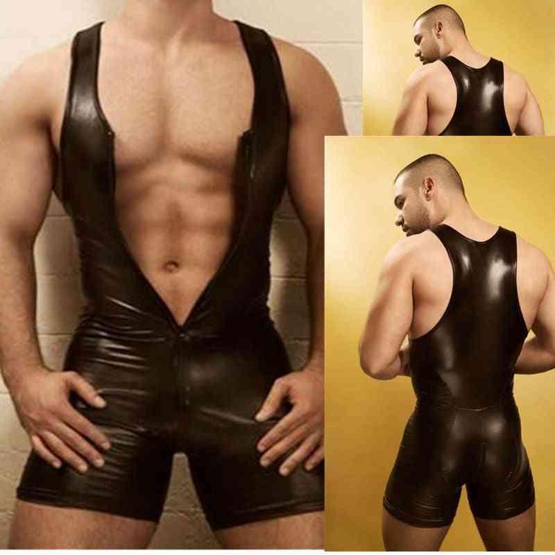Men Lingerie Bodysuit Wetlook Faux Leather Zipper Open Bust Stretch Tight Catsuit
