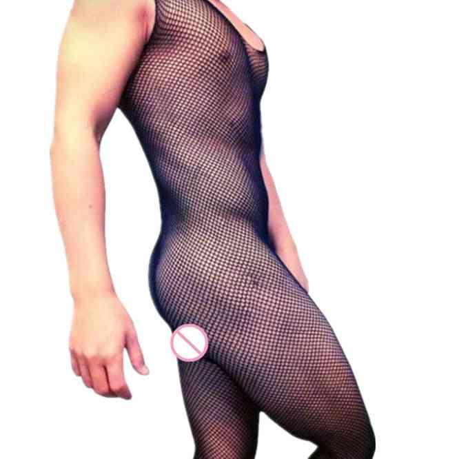 Male Underwear Sleeveless Bodystocking, Men's Open Crotch Fishnet Bodysuit