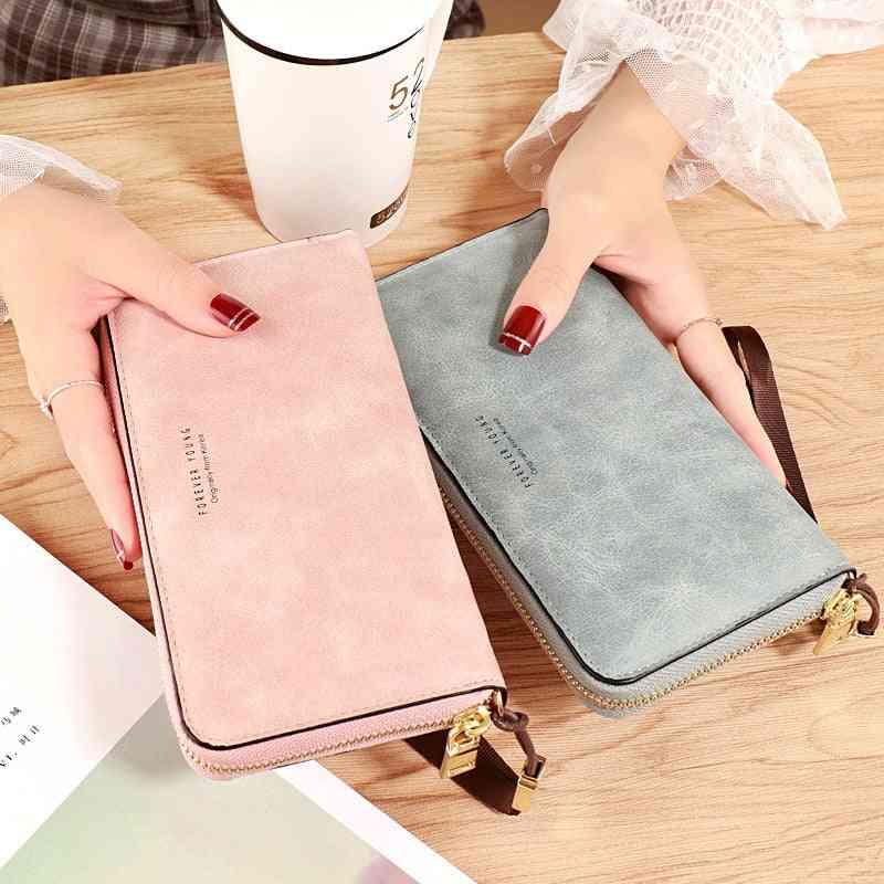 Leather Zipper Pocket Women Long Card Holder Wallet