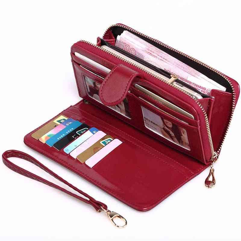 Women Leather Wallet Purses, Long Wristlet Clutch Coin Card Holders