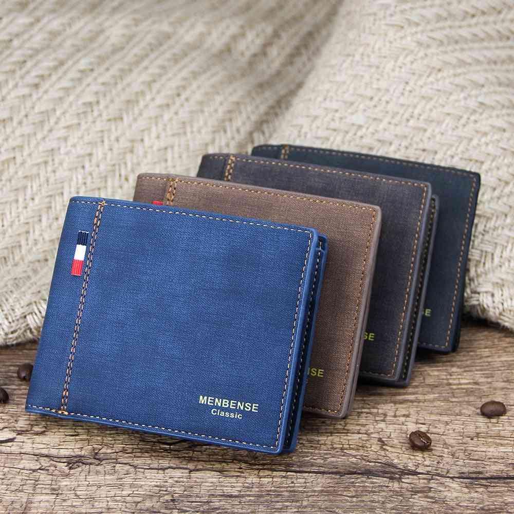 Men's Wallet Money Bag, Leather Business Short Bags
