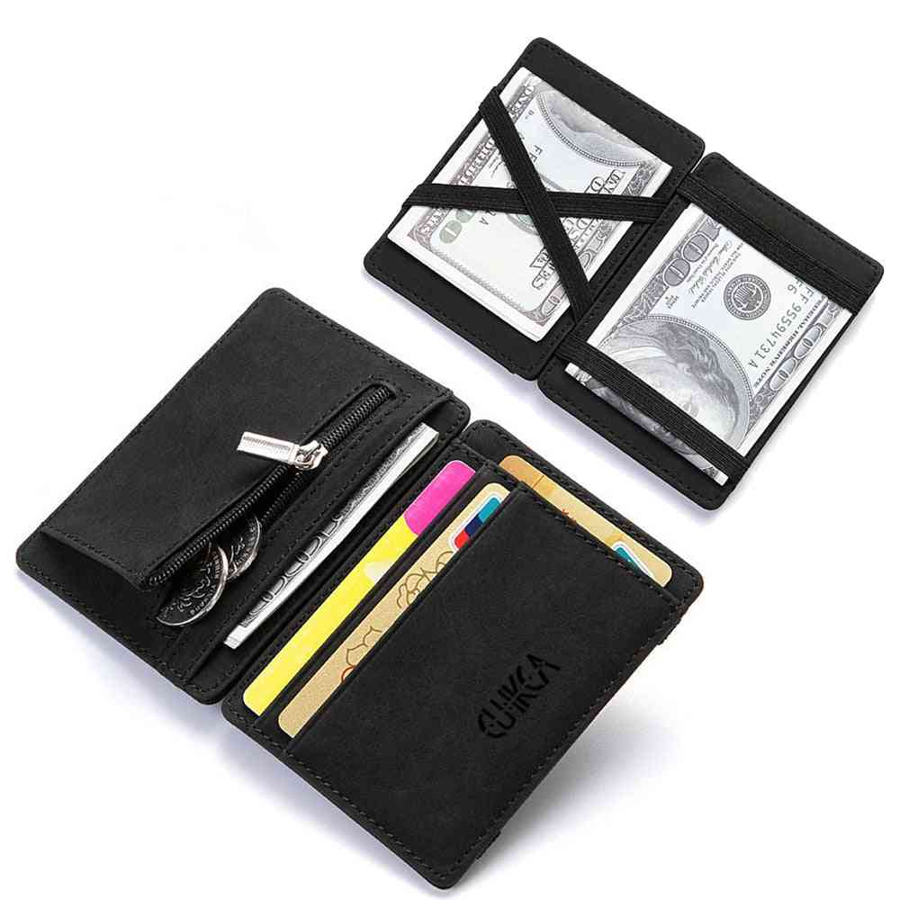 Upgrade Ultra Thin Mini Pu Leather Magic Wallets, Coin Purse, Credit Card Holder