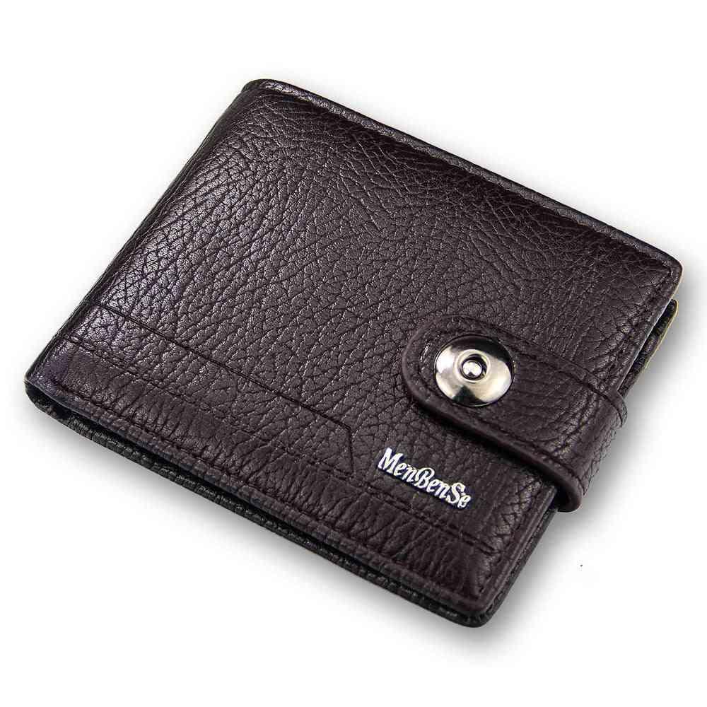 Genuine Leather Purse, Short Hasp Port Money Slimport Wallet