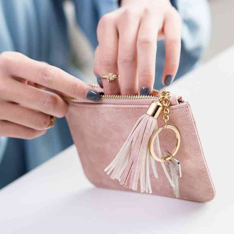 Coin Purse, Leather Women Short Zipper Cute Mini Bag