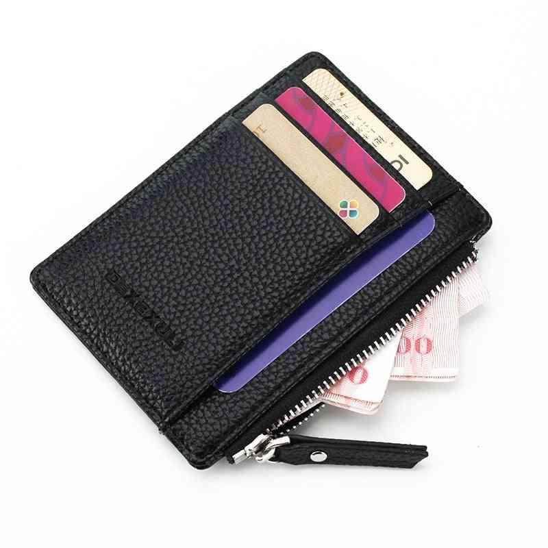Unisex Wallet Business Card Holder, Pu Leather, Coin Pocket Organizer Purse Bag