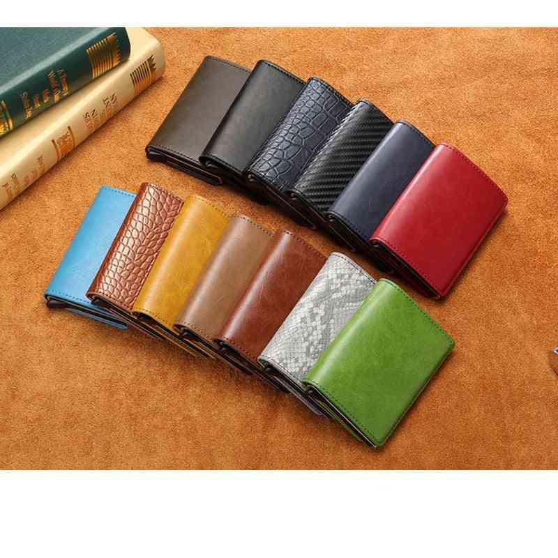 Aluminium Alloy Credit Card Holder, Pu Leather Wallet