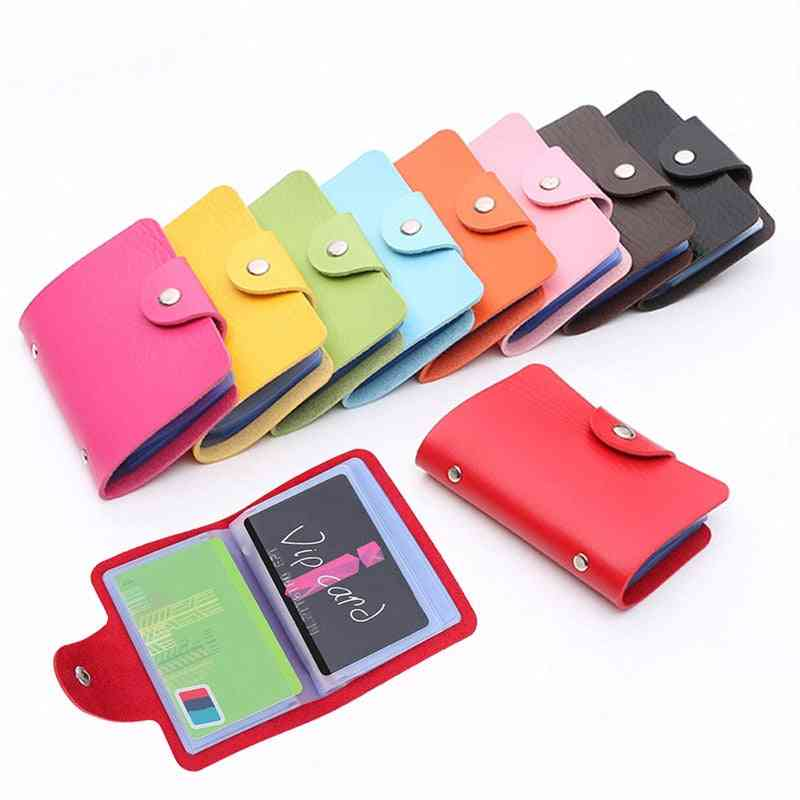Pu Leather Buckle Business Id Card &credit Card Holder