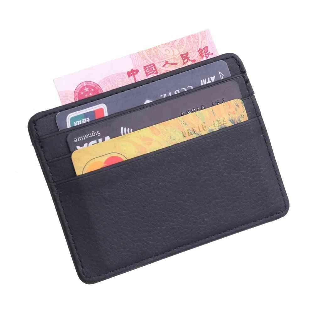 Durable Slim Simple Travel Lichee Leather Bank Business Id Card, Wallet Holder Case