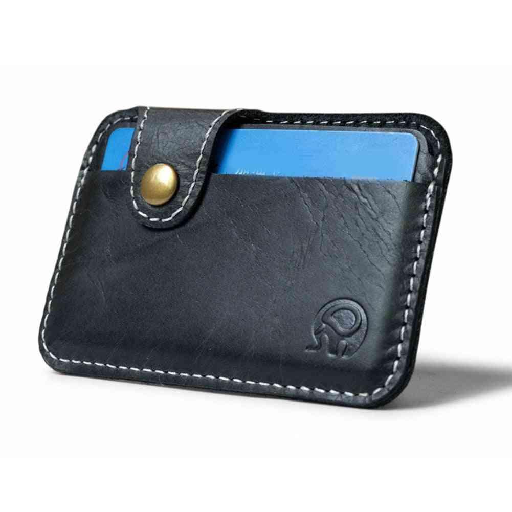 Leather Card Wallet, Men Business Bank Holder Thin Credit Case