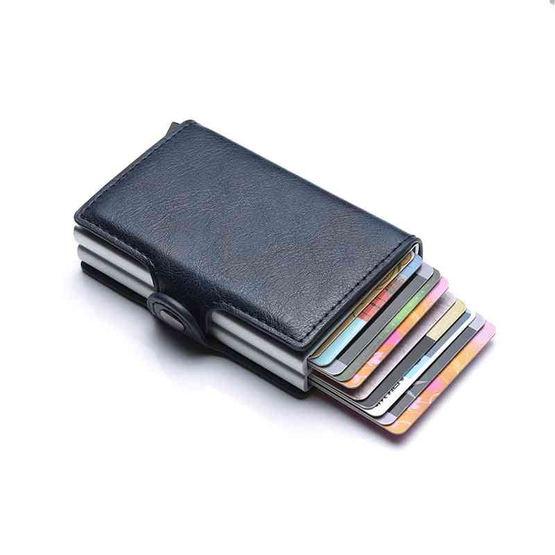 Id Credit Card Holder Wallet, Leather Metal Aluminum Business Bank Case