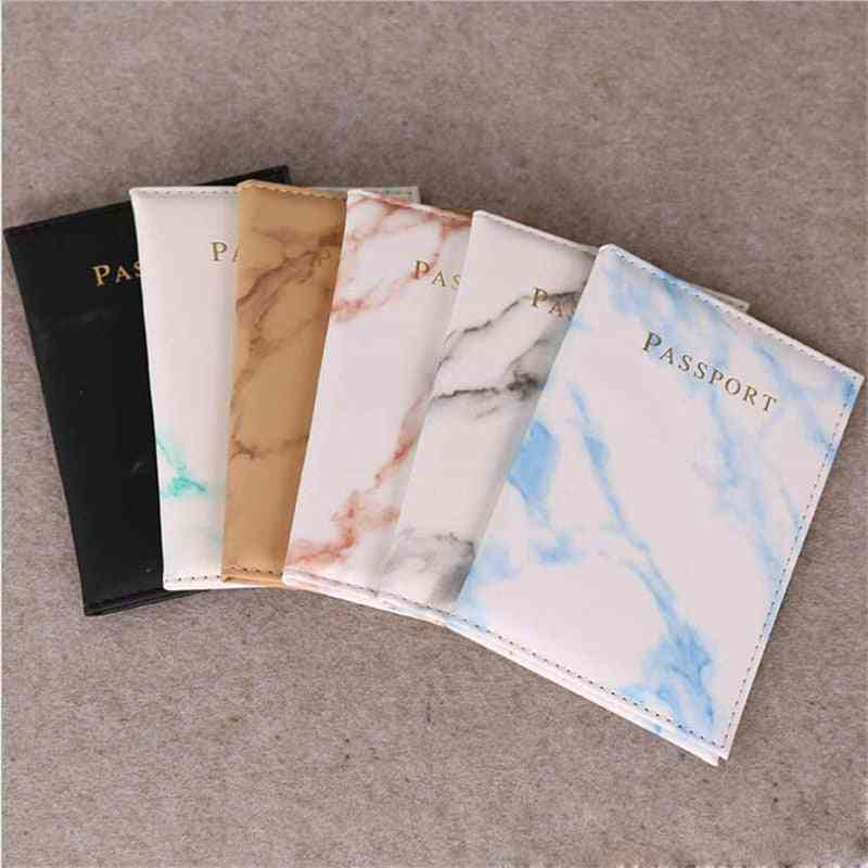 Passport Cover Pu Leather Marble Style, Travel Id Credit Card Holder, Packet Wallet