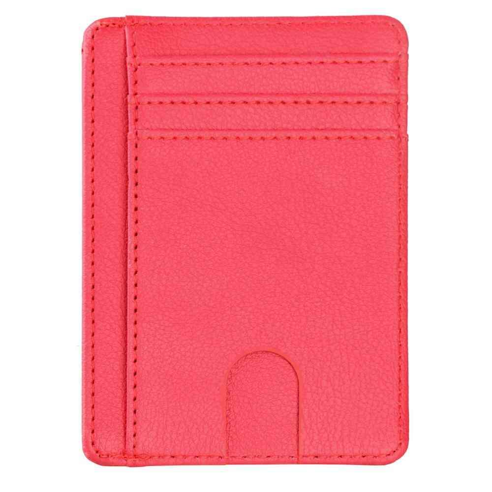 Slim Rfid Blocking Leather Wallet, Credit Id Card Holder, Purse Bag
