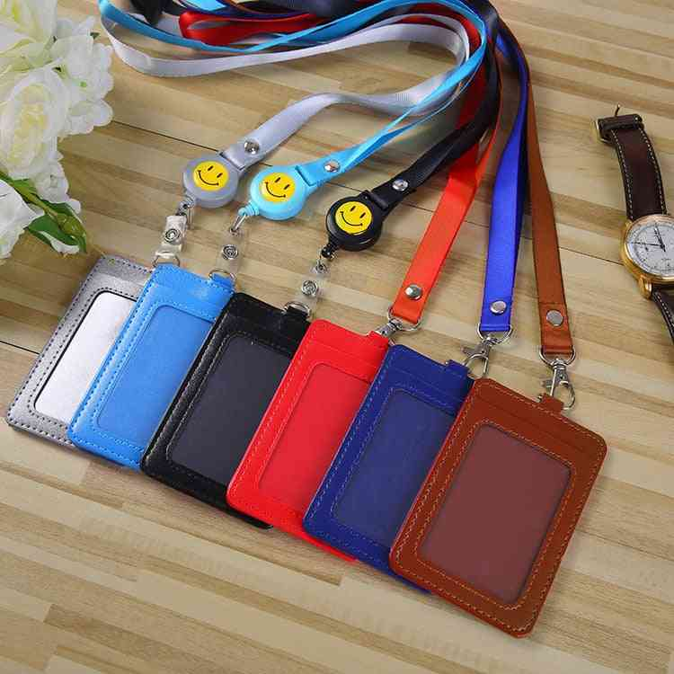 Pu Leather Id Credit Card Holder, Students Bus Cards Case & Men