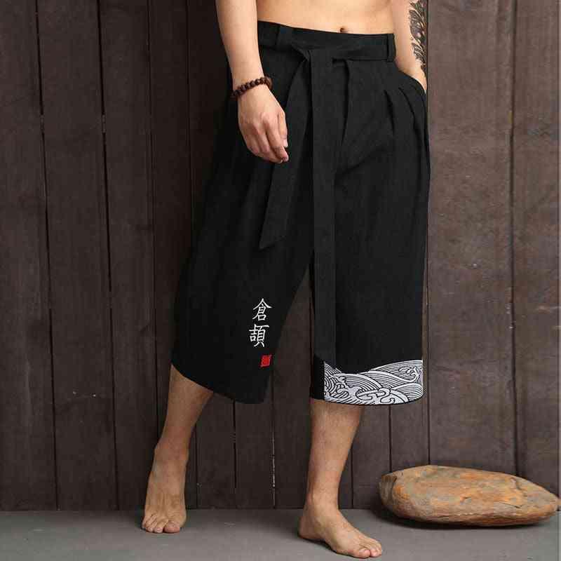 Traditional Casual Loose Male Yukata Trousers