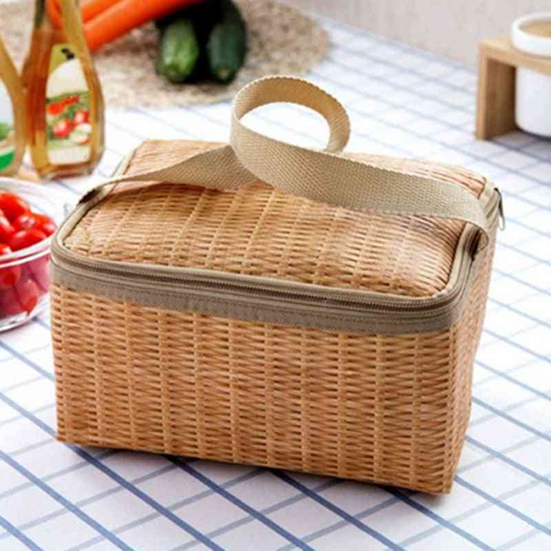 Rattan Waterproof Thermal Insulation Lunch Bag, Portable Picnic Food Storage Case